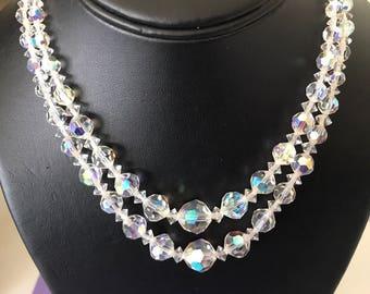 Gorgeous Double Strand Aurora Borealis 1950's or 60's Bead Necklace