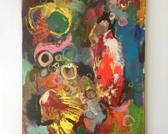 """Medium Abstract Art Acrylic Expressionist Colour Painting """"Reef"""" ,Contemporary, Home decor, Original Artwork, Rainbow, Colourful, Office"""