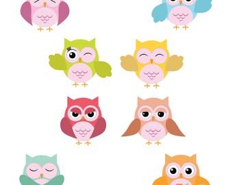 Happy Owl Download - 8 Cute & Fun Colorful Night Hoot