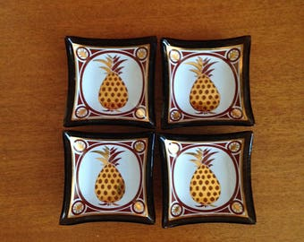 Mid Century Tiny Glass Pineapple Dishes Set of 4 Square