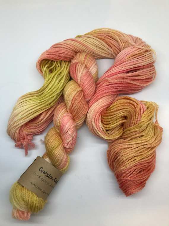 Inca - 50g 100% Superwash Merino DK double knit yarn, hand dyed in Scotland, variegated, olive, rose, peach