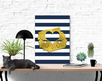 Navy Blue Bold Stripes and Faux Gold Foil Heart Cutout Printable | Wall Art Printables | Be Mine Printables | Digital Instant Download | Art