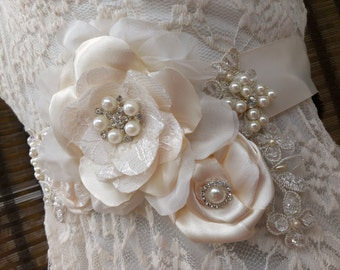 SALE Champagne Ivory & Gold Bridal Sash Belt With Swarovski Crystals, Lace, Pearls, Vintage Style Buttons - Couture Bridal Sash