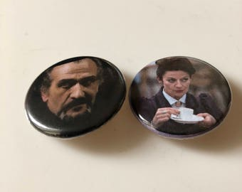 Doctor Who The Master and Missy Pin/Pinback Buttons, Doctor Who Pins, Doctor Who Buttons , Badges, Stocking Stuffers