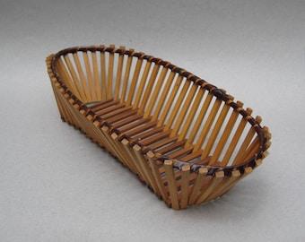 Oval Bamboo Basket Boho Decor Bamboo Slat Wall Basket Vintage Bread Basket Wooden Fruit Basket Fruit Bowl
