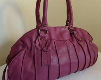 BEAUTIFUL Purple Leather Handbag Made In USA by 'Latico, NJ' - Stunning!!