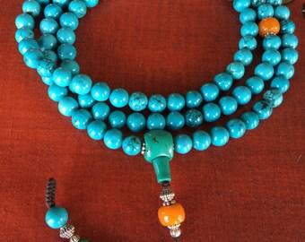 Tibetan Turquoise Protection Mala - 108 Beads for Meditation
