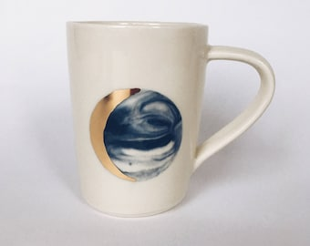 MOON MUG. White and blue marbled cups/mugs (Made to Order)