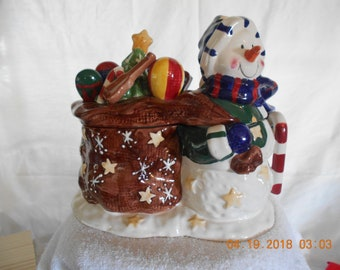 Snowman with Toy Bag Cookie Jar
