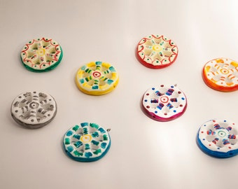 Sicilian hand Painted ceramic cart wheels, for pendants or magnets, assorted colours