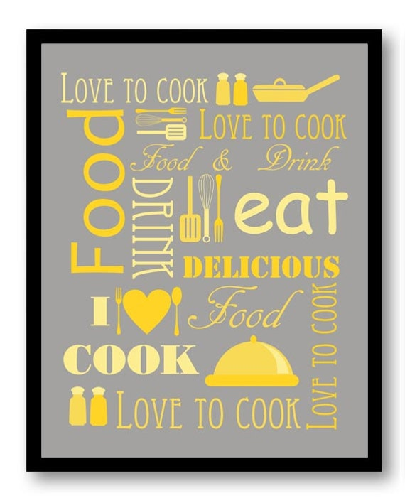 Love to Cook Kitchen Wall Decor Grey Gray Yellow Print