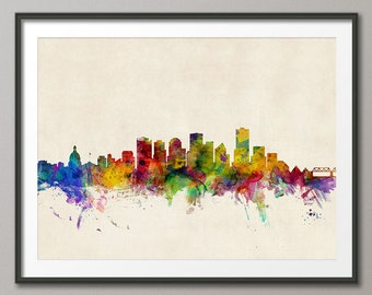 Edmonton Skyline, Edmonton Canada Cityscape Art Print (350)