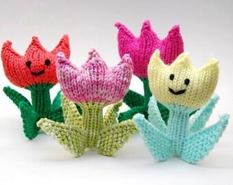 Spring Tulip Flower Knit Amigurumi Plush Toy Soft Sculpture Pattern PDF Download