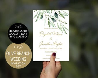 Olive Branch Wedding Invitation Template - Gold - Rustic Watercolor-DIY Printable Wedding Invitation-PDF-Instant Download| VRD135HL