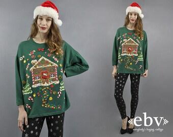 Ugly Christmas Shirt Tacky Christmas Party Shirt Gingerbread House Christmas T Shirt Tee Holiday Christmas Sweater Hansel and Gretel S M L