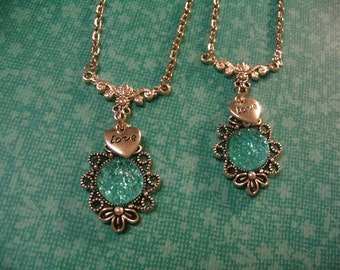 2 Faux Druzy Glitter Turquoise Cabochon Love Necklaces Friends Sisters or Mother Daughter Gift