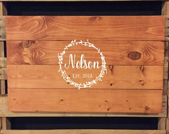 Wedding Sign | Wedding Guest Book | Name Sign | Wooden Guest Book |  Established Date | Alternative Guest Book | Vine Wreath | 22536