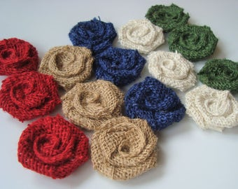 25 Extra Small Burlap Roses (about 1.5 inches)