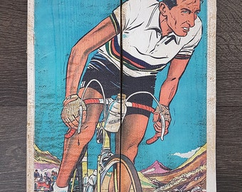 Cycling wood print, vintage style poster, retro bicycle ads - Fausto Coppi