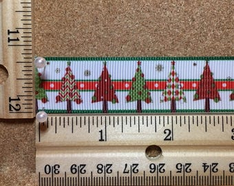 Red and Green Christmas Trees 7/8 inch Grosgrain Ribbon