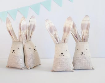 Pastel Easter bunny, soft rabbit toy, bunny toy, baptism gift, fabric newborn toys, baby heirloom toy, baby shower gift , linen toy