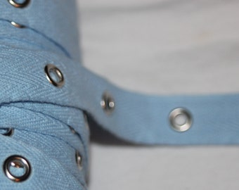 "2 yards  Baby Blue silver grommet cotton twill trim tape sewing for Corsets Bustiers Lacing 3/4"" wide"