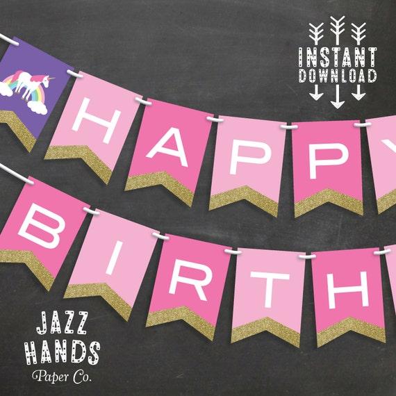 items similar to unicorn birthday banner template
