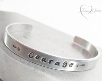 Courage Bracelet, Courage Jewelry, Inspire Jewelry, Custom Cuff Bracelet, Engraved Bracelet, Strength Bracelet, Inspirational, Gift for Her