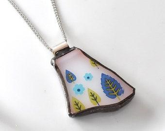 Broken China Jewelry Pendant - Swiss Chalet