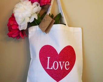 Love Heart White Canvas Tote Bag