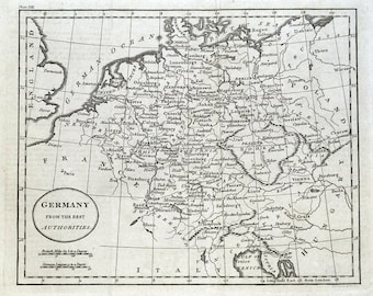 GERMANY, original Guthrie antique map 1793