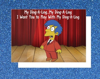 Simpsons Ding-A-Ling Greeting Card (Pop Culture Card, Funny Greeting Card, TV Shows Card, 90's Cartoon)