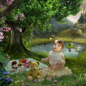Digital background, Fairy tale, backdrop ,teddybears picnic, fantasy, children, composite,stock