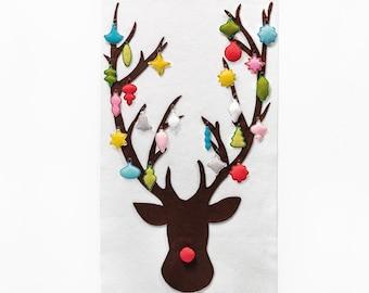 Advent Calendar Pattern - Felt - Advent Calendar - Rudolph with 24 Vintage Ornaments