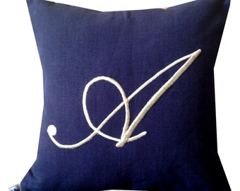 Navy Cushion Cover, Navy Monogram Pillow Covers, Monogram Cushion Cover, Monogram Decor, Monogram Throw Pillow Cover