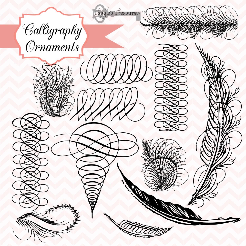 50 OFF SALE Vintage Calligraphy Ornaments Digital Clip Art
