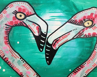 Flirty Flamingo painting 3