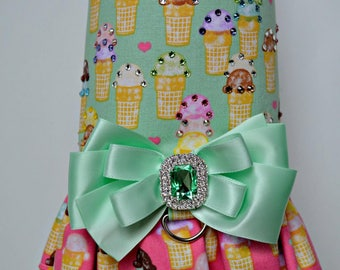 Dog Harness Vest - Dog Ruffle Harness - No Pull Harness - Ice Cream Cones - Dog Dress - Small Dog Dress - Small Dog Harness