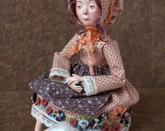 The Shepherdess (the doll+the round pouf+the lavender sachet heart). OOAK Art Doll