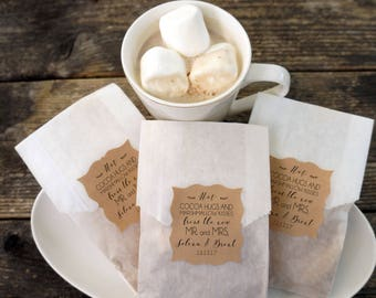 Hot Cocoa Wedding Favor, Hot Chocolate and Marshmallow Bags, Personalized Kraft Paper Stickers, Fall Wedding, Winter Favor, Bridal Shower