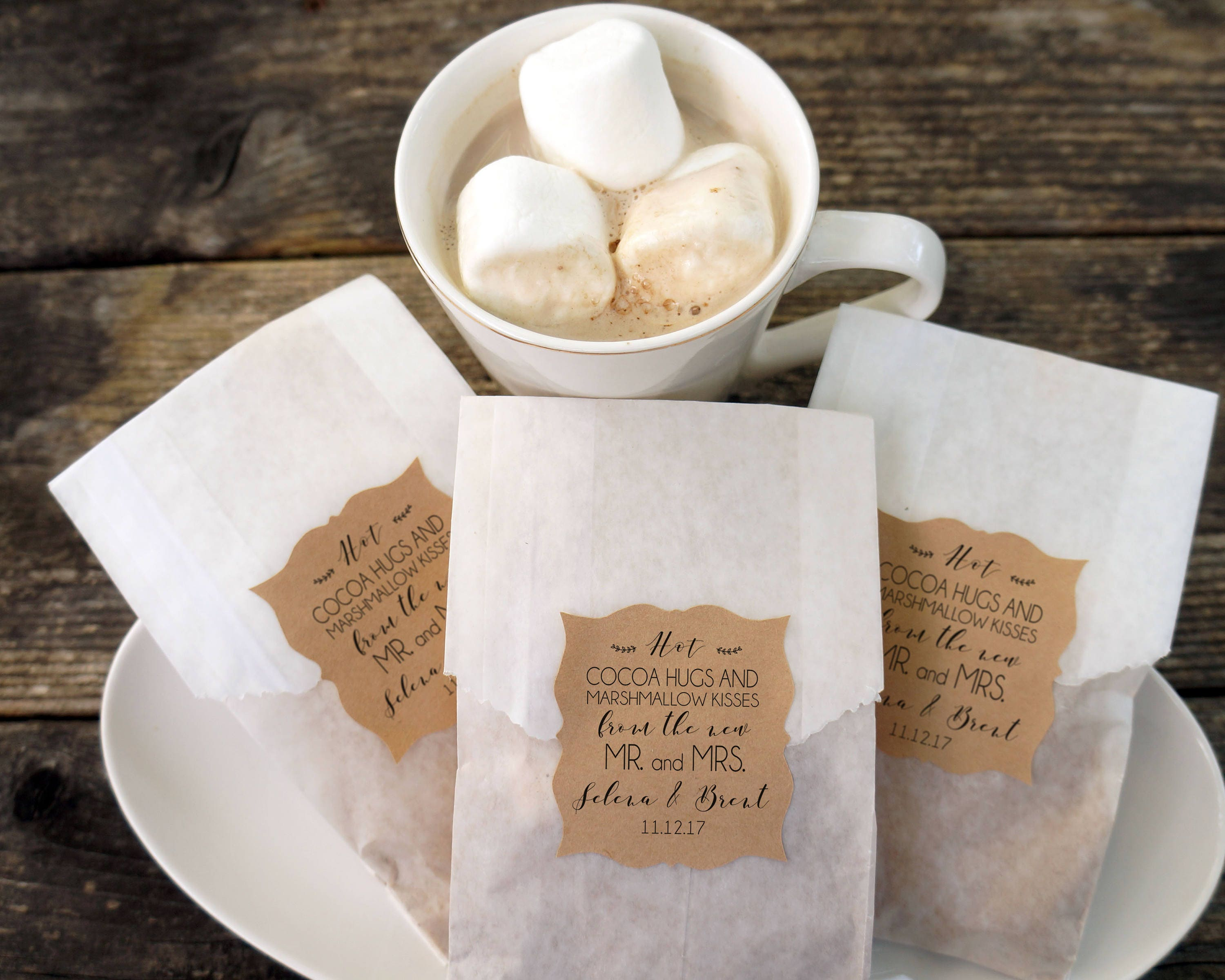 Hot Cocoa Wedding Favor Hot Chocolate and Marshmallow Bags