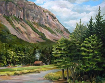 Cannon Cliff Framed Original Oil Painting