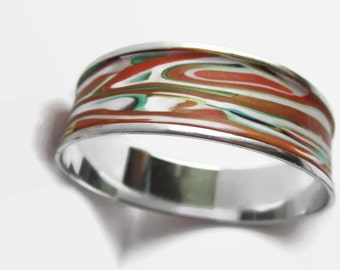Bangle Bracelet, Light Weight Cuff Bracelet, Orange and Gold with Green and Red Accents // gifts for her
