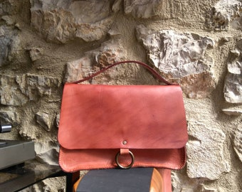 Cognac Leather Hand Bag