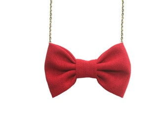 Red Linen - Bow Tie Necklace Women Bowtie, Bridesmaids Accessory