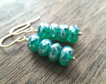 Statement Bold Mint Green Onyx Pearl Finish Gold Earrings, Gift for sister, mom, aunt, girlfriend, wife