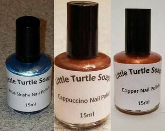 Blue Slushy Nail Polish, Cappuccino Nail Polish, Copper Nail polish, gift for her, handmade, gift idea, hand mixed,nail polish, party favor