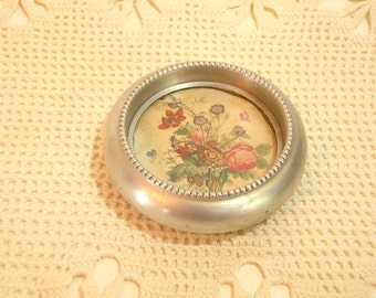Vintage Aluminum  Coaster With Cottage Style Floral Design