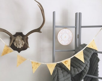Yellow Hand Dyed Paint Effect Fabric Bunting - Handmade by BNTNG