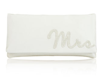 MRS wedding day bridal clutch purse